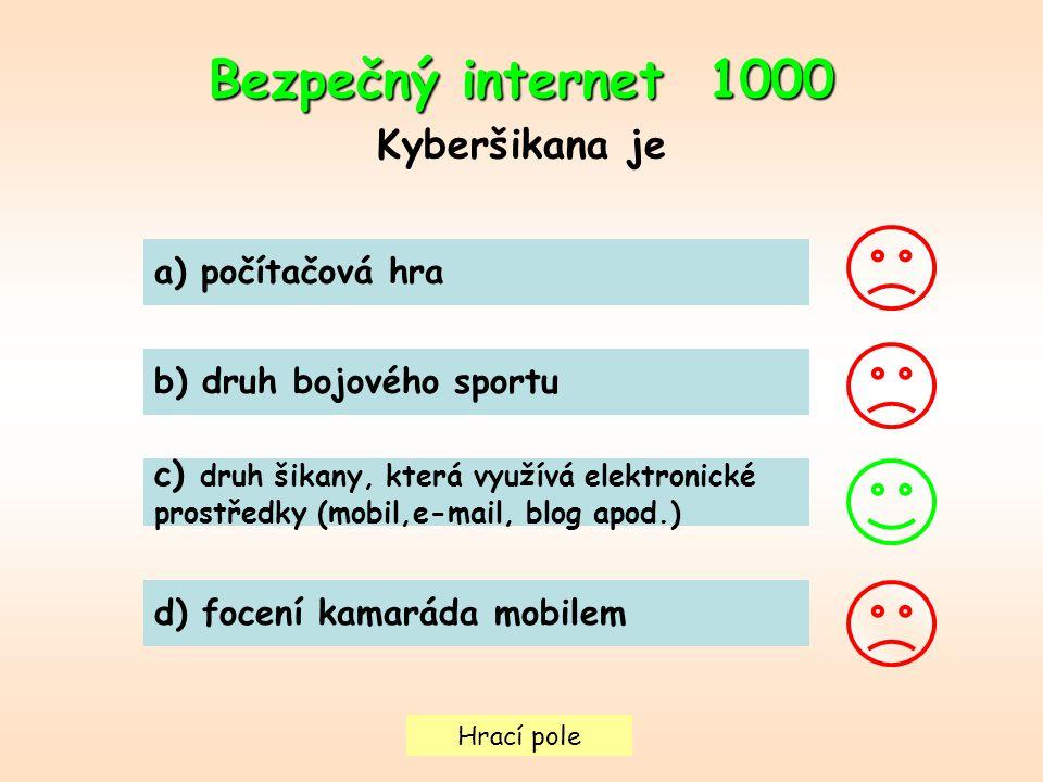 Hrací pole Bezpečný internet 1000 Kyberšikana je a) počítačová hra b) druh bojového sportu c) druh šikany, která využívá elektronické prostředky (mobi