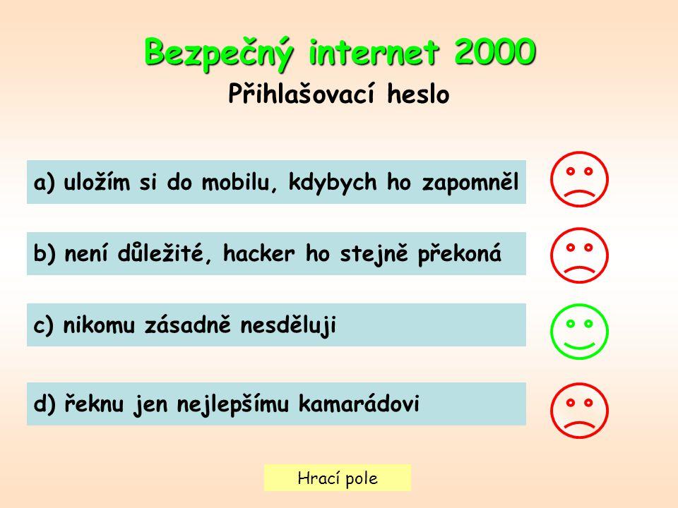 Hrací pole Bezpečný internet2000 Bezpečný internet 2000 Přihlašovací heslo a) uložím si do mobilu, kdybych ho zapomněl b) není důležité, hacker ho ste