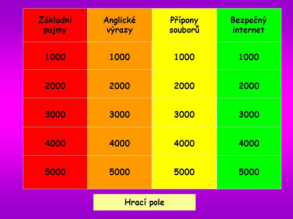 Hrací pole Přípony souborů1000 Přípony souborů 1000 Soubor s příponou doc je obvykle a) spustitelný soubor b) obrázek c) tabulka z Excelu d) textový dokument