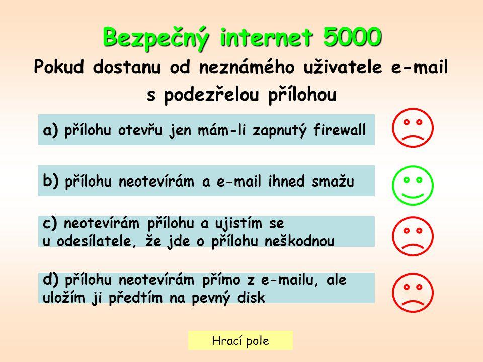 Hrací pole Bezpečný internet5000 Bezpečný internet 5000 Pokud dostanu od neznámého uživatele e-mail s podezřelou přílohou a) přílohu otevřu jen mám-li