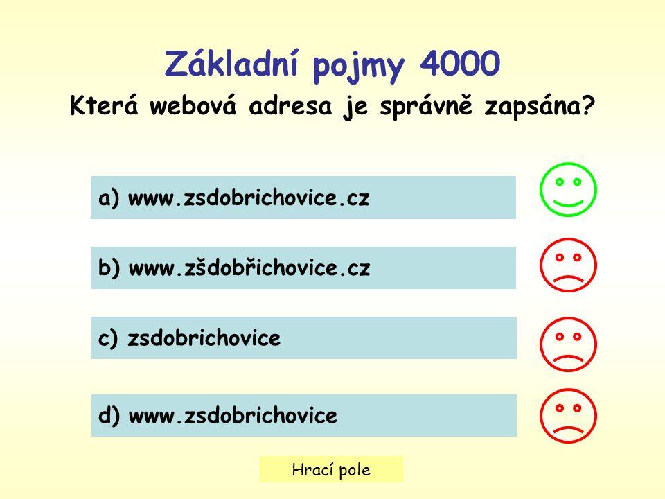 Hrací pole Základní pojmy 4000 Která webová adresa je správně zapsána? a) www.zsdobrichovice.cz b) www.zšdobřichovice.cz c) zsdobrichovice d) www.zsdo