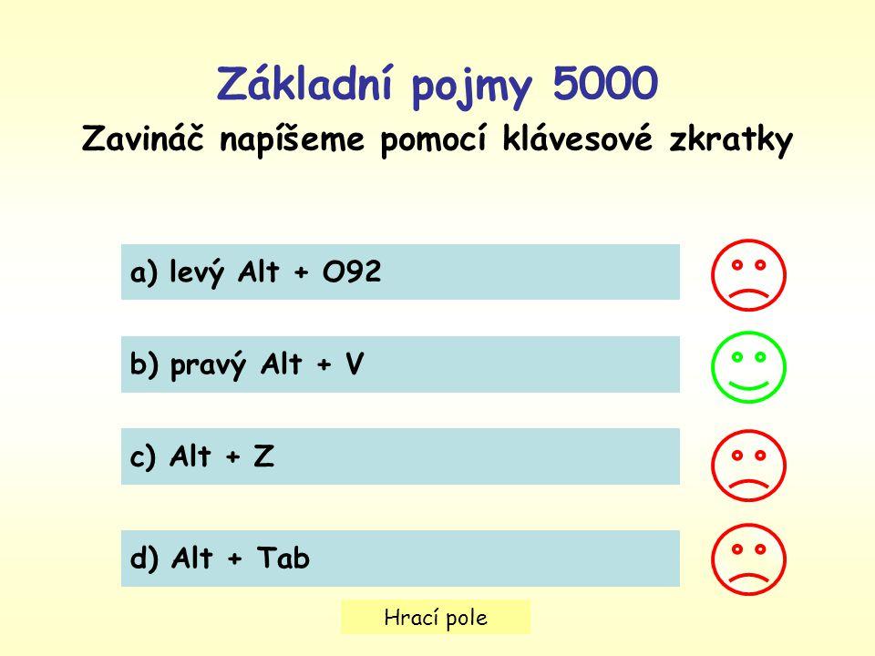 Hrací pole Základní pojmy 5000 Zavináč napíšeme pomocí klávesové zkratky a) levý Alt + O92 b) pravý Alt + V c) Alt + Z d) Alt + Tab