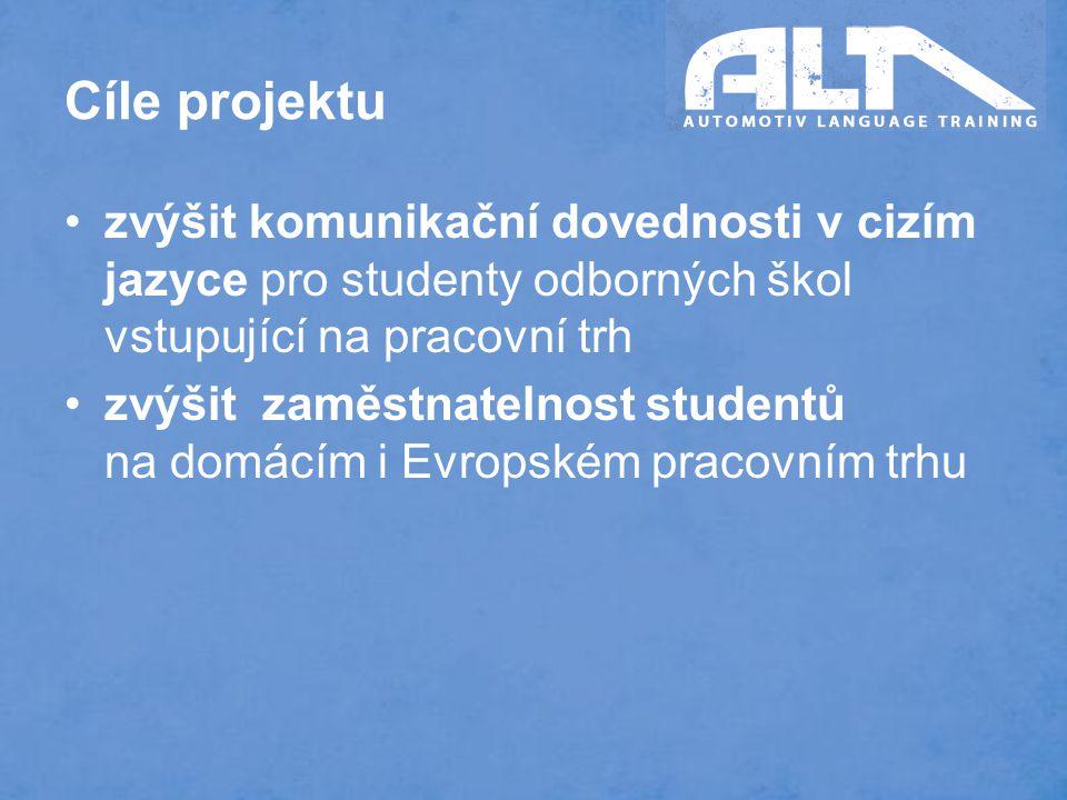 Cíle projektu zvýšit komunikační dovednosti v cizím jazyce pro studenty odborných škol vstupující na pracovní trh zvýšit zaměstnatelnost studentů na domácím i Evropském pracovním trhu