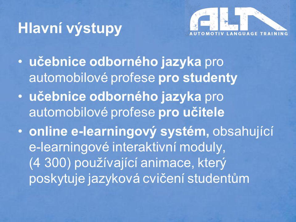 Hlavní výstupy učebnice odborného jazyka pro automobilové profese pro studenty učebnice odborného jazyka pro automobilové profese pro učitele online e-learningový systém, obsahující e-learningové interaktivní moduly, (4 300) používající animace, který poskytuje jazyková cvičení studentům