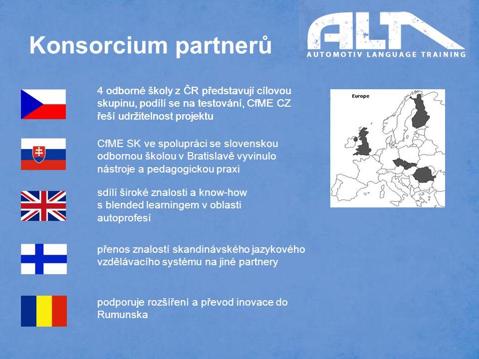 Konsorcium partnerů CfME SK ve spolupráci se slovenskou odbornou školou v Bratislavě vyvinulo nástroje a pedagogickou praxi sdílí široké znalosti a know-how s blended learningem v oblasti autoprofesí 4 odborné školy z ČR představují cílovou skupinu, podílí se na testování, CfME CZ řeší udržitelnost projektu přenos znalostí skandinávského jazykového vzdělávacího systému na jiné partnery 4 odborné školy z ČR představují cílovou skupinu, podílí se na testování, CfME CZ řeší udržitelnost projektu podporuje rozšíření a převod inovace do Rumunska