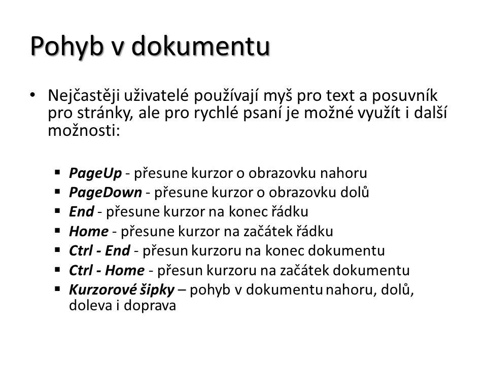 Pohyb v dokumentu Nejčastěji uživatelé používají myš pro text a posuvník pro stránky, ale pro rychlé psaní je možné využít i další možnosti:  PageUp