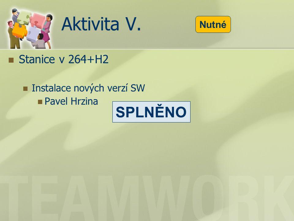 Aktivita V. Stanice v 264+H2 Instalace nových verzí SW Pavel Hrzina Nutné SPLNĚNO