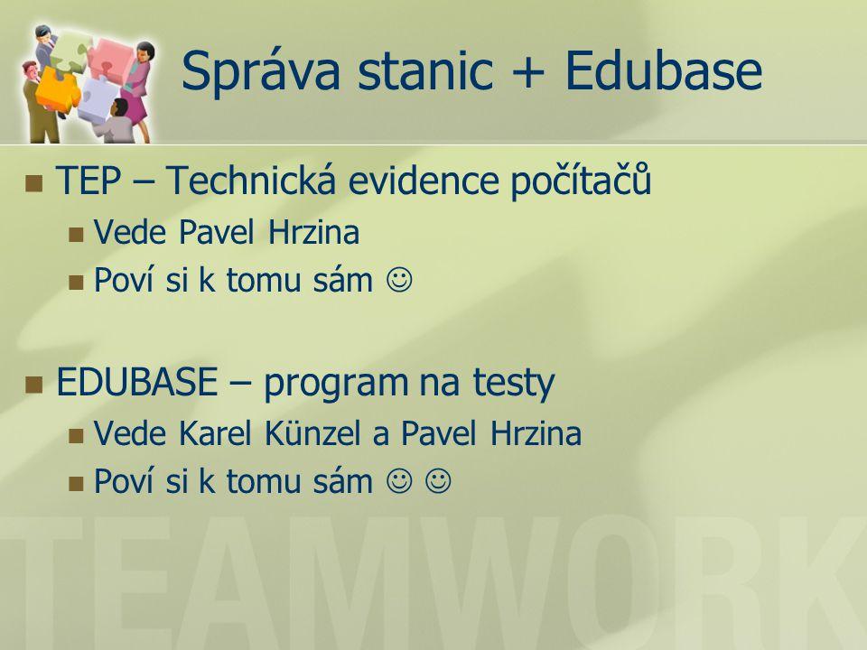 Správa stanic + Edubase TEP – Technická evidence počítačů Vede Pavel Hrzina Poví si k tomu sám EDUBASE – program na testy Vede Karel Künzel a Pavel Hrzina Poví si k tomu sám