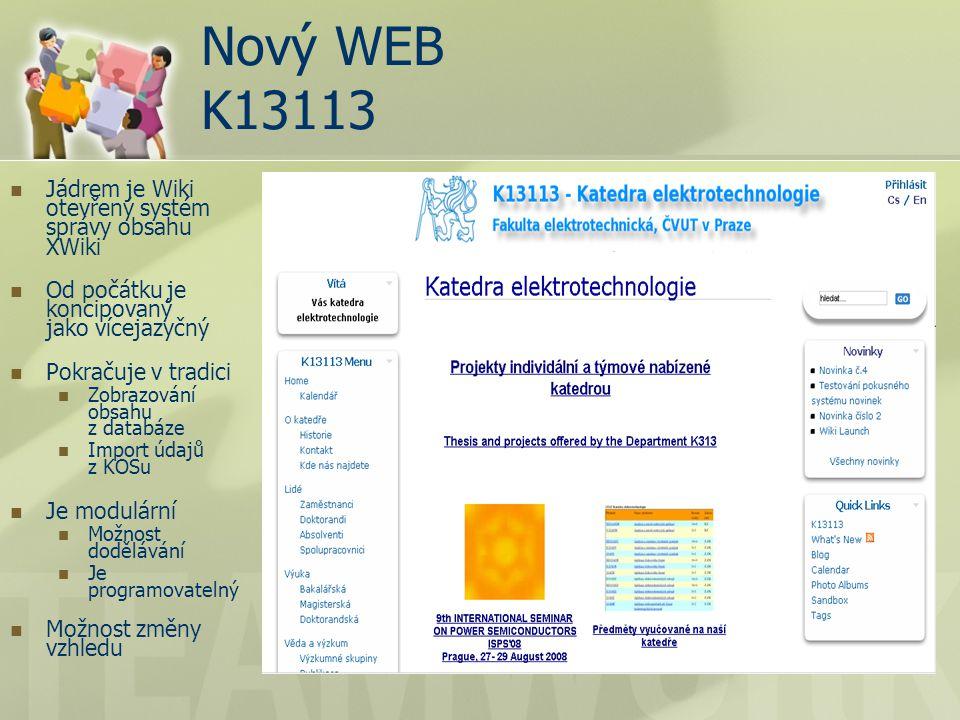 Nový WEB K13113 Jádrem je Wiki otevřený systém správy obsahu XWiki Od počátku je koncipovaný jako vícejazyčný Pokračuje v tradici Zobrazování obsahu z databáze Import údajů z KOSu Je modulární Možnost dodělávání Je programovatelný Možnost změny vzhledu