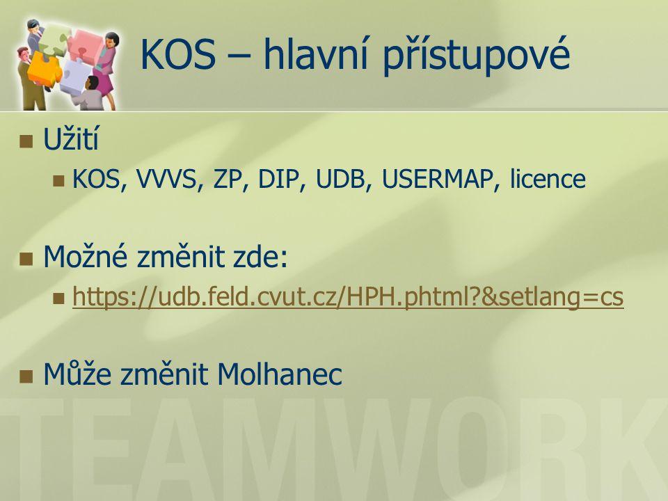 KOS – hlavní přístupové Užití KOS, VVVS, ZP, DIP, UDB, USERMAP, licence Možné změnit zde: https://udb.feld.cvut.cz/HPH.phtml &setlang=cs Může změnit Molhanec