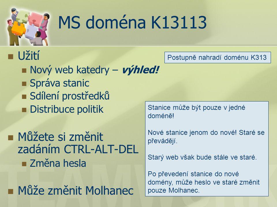 MS doména K13113 Užití Nový web katedry – výhled.