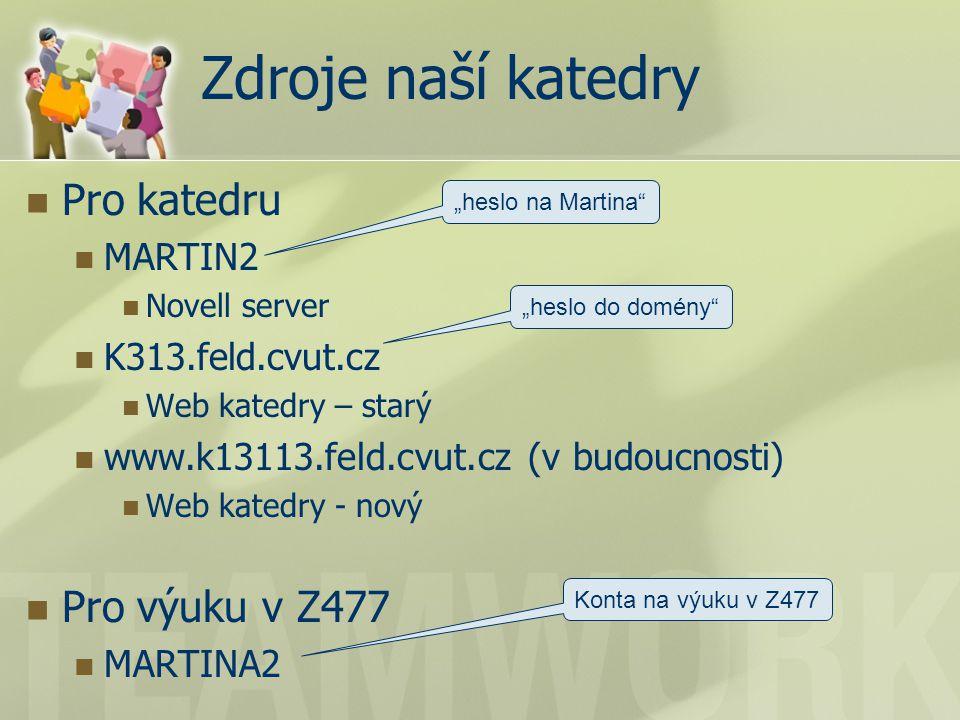 """Zdroje naší katedry Pro katedru MARTIN2 Novell server K313.feld.cvut.cz Web katedry – starý www.k13113.feld.cvut.cz (v budoucnosti) Web katedry - nový Pro výuku v Z477 MARTINA2 """"heslo na Martina """"heslo do domény Konta na výuku v Z477"""