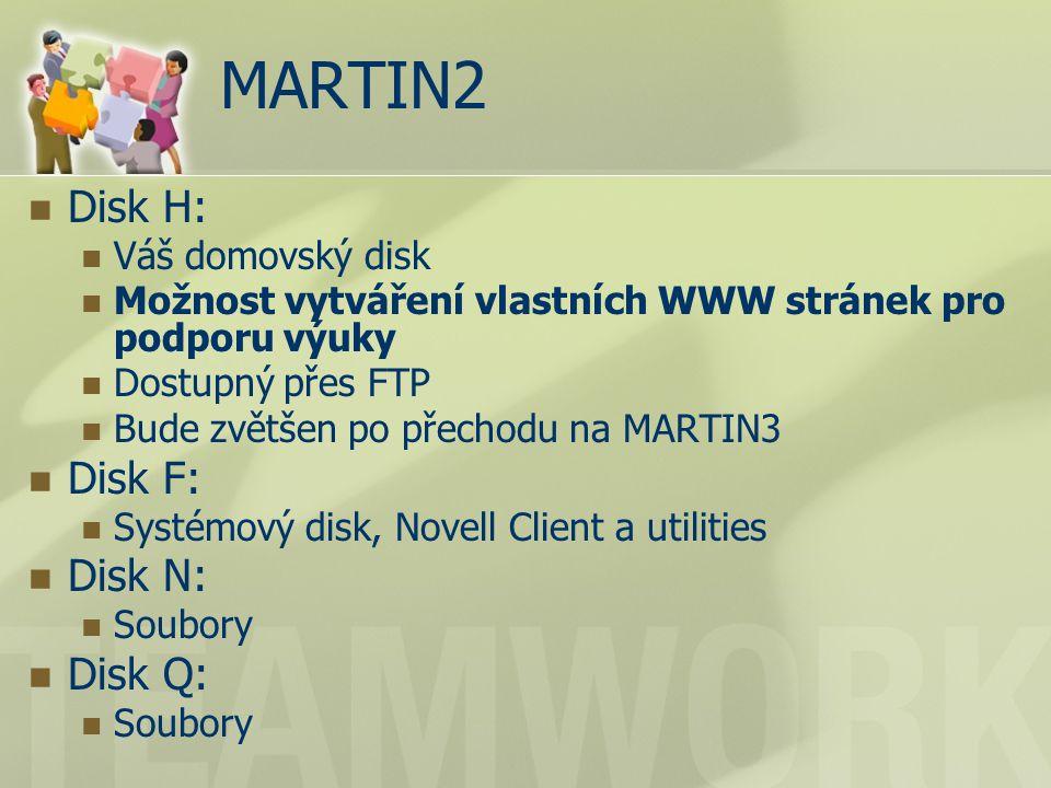MARTIN2 Disk H: Váš domovský disk Možnost vytváření vlastních WWW stránek pro podporu výuky Dostupný přes FTP Bude zvětšen po přechodu na MARTIN3 Disk F: Systémový disk, Novell Client a utilities Disk N: Soubory Disk Q: Soubory