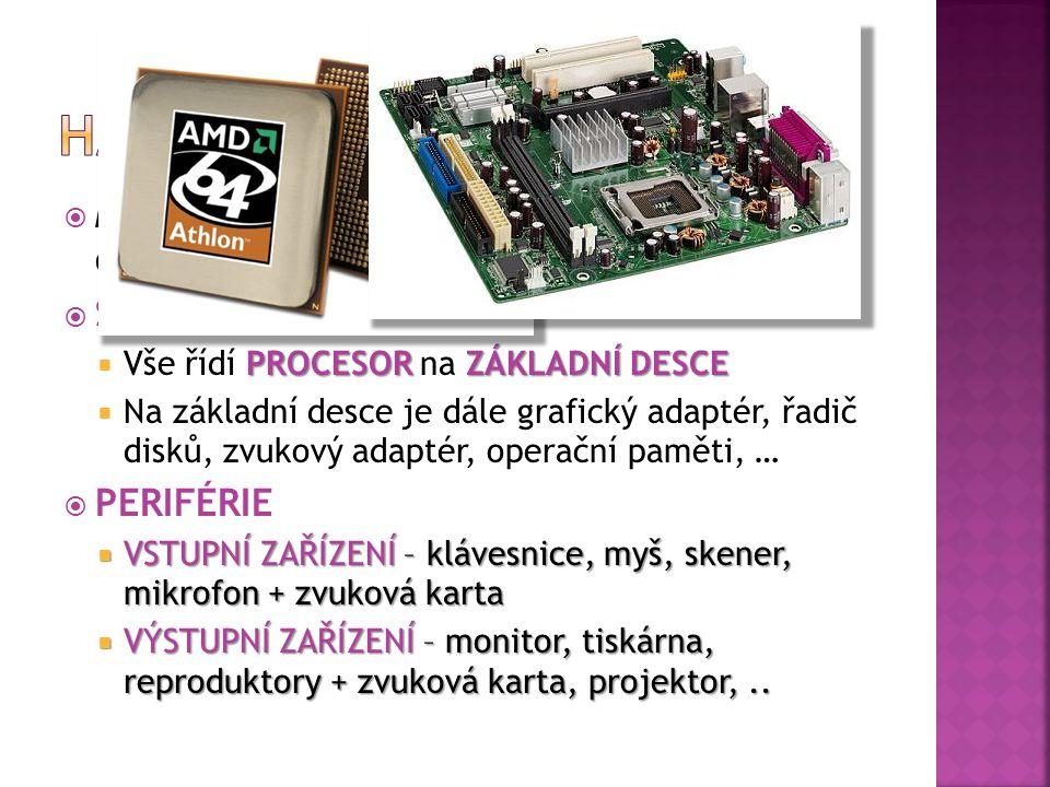  Můžeme dále dělit na Skříň (Case) s jejím obsahem a na Periférie (vnější části)  SKŘÍŇ PROCESOR ZÁKLADNÍ DESCE  Vše řídí PROCESOR na ZÁKLADNÍ DESCE  Na základní desce je dále grafický adaptér, řadič disků, zvukový adaptér, operační paměti, …  PERIFÉRIE  VSTUPNÍ ZAŘÍZENÍ – klávesnice, myš, skener, mikrofon + zvuková karta  VÝSTUPNÍ ZAŘÍZENÍ – monitor, tiskárna, reproduktory + zvuková karta, projektor,..
