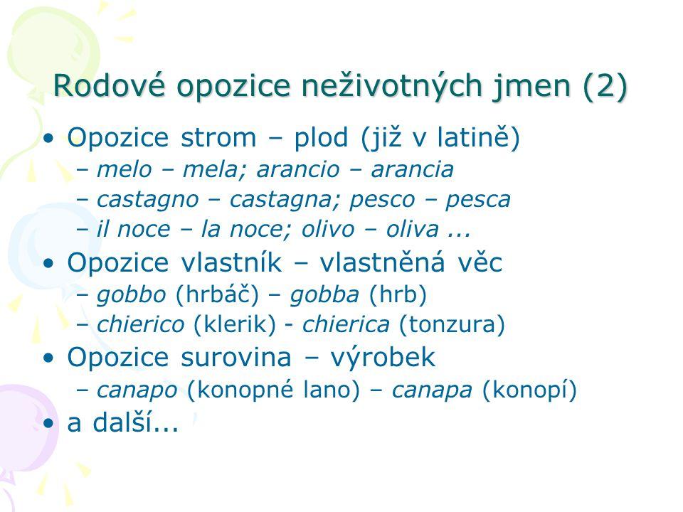 Rodové opozice neživotných jmen (2) Opozice strom – plod (již v latině) –melo – mela; arancio – arancia –castagno – castagna; pesco – pesca –il noce –
