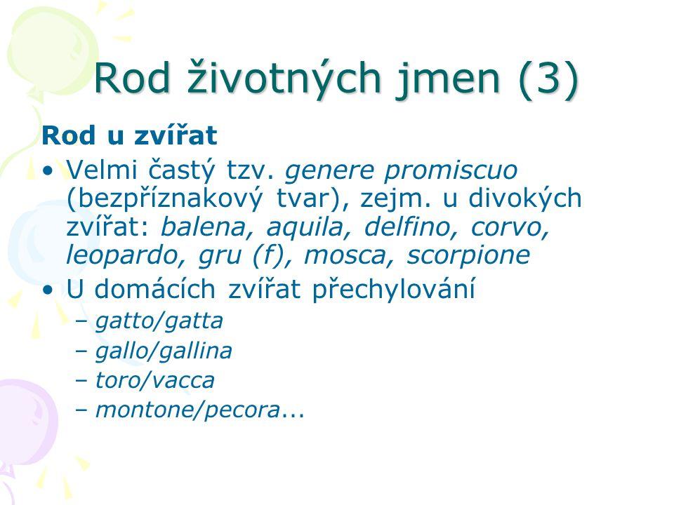 Rod životných jmen (3) Rod u zvířat Velmi častý tzv. genere promiscuo (bezpříznakový tvar), zejm. u divokých zvířat: balena, aquila, delfino, corvo, l