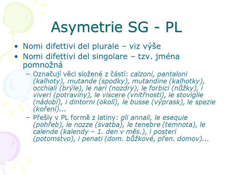 Asymetrie SG - PL Nomi difettivi del plurale – viz výše Nomi difettivi del singolare – tzv. jména pomnožná –Označují věci složené z částí: calzoni, pa