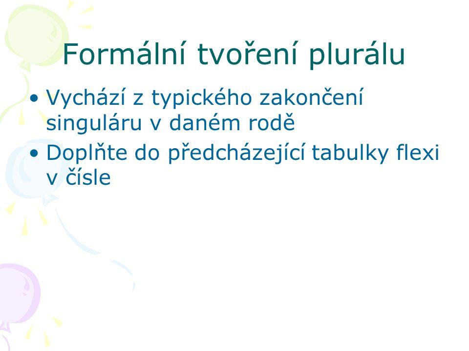 Formální tvoření plurálu Vychází z typického zakončení singuláru v daném rodě Doplňte do předcházející tabulky flexi v čísle