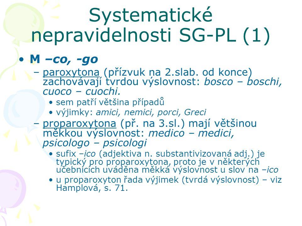 Systematické nepravidelnosti SG-PL (1) M –co, -go –paroxytona (přízvuk na 2.slab. od konce) zachovávají tvrdou výslovnost: bosco – boschi, cuoco – cuo