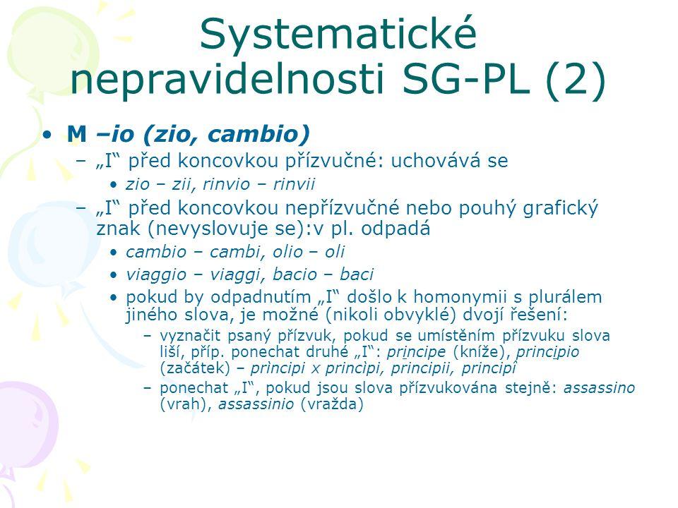 """Systematické nepravidelnosti SG-PL (2) M –io (zio, cambio) –""""I"""" před koncovkou přízvučné: uchovává se zio – zii, rinvio – rinvii –""""I"""" před koncovkou n"""