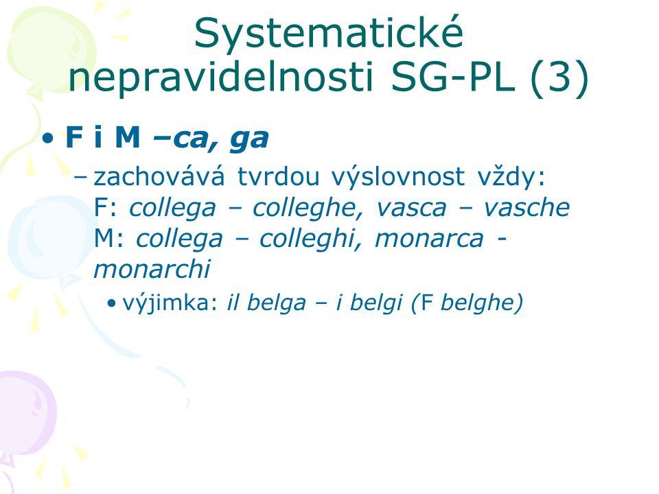 Systematické nepravidelnosti SG-PL (3) F i M –ca, ga –zachovává tvrdou výslovnost vždy: F: collega – colleghe, vasca – vasche M: collega – colleghi, m