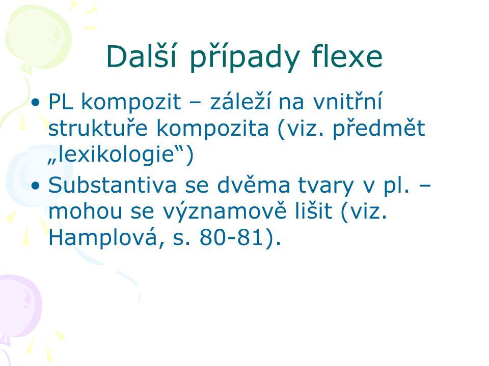 """Další případy flexe PL kompozit – záleží na vnitřní struktuře kompozita (viz. předmět """"lexikologie"""") Substantiva se dvěma tvary v pl. – mohou se význa"""