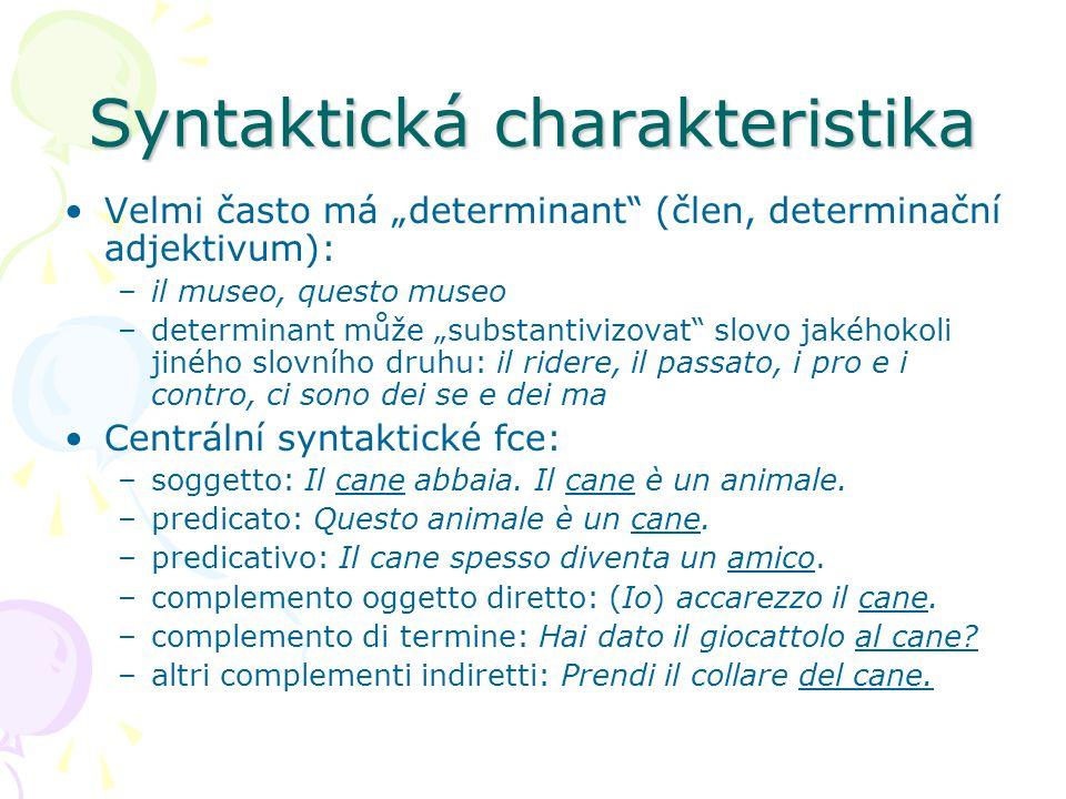 """Syntaktická charakteristika Velmi často má """"determinant"""" (člen, determinační adjektivum): –il museo, questo museo –determinant může """"substantivizovat"""""""