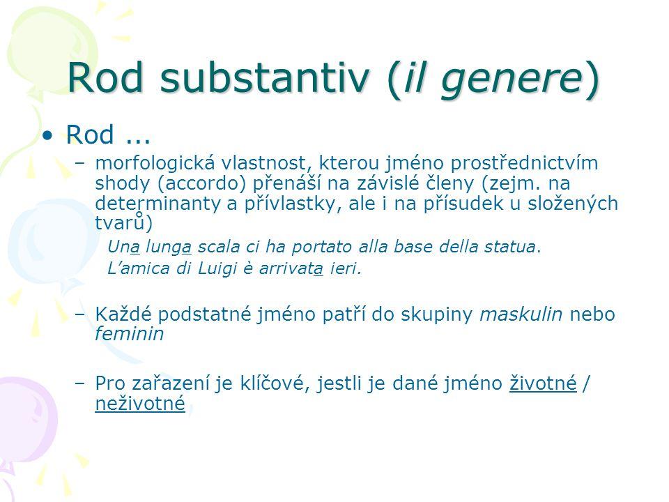 Rod substantiv (il genere) Rod... –morfologická vlastnost, kterou jméno prostřednictvím shody (accordo) přenáší na závislé členy (zejm. na determinant