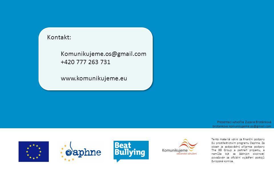 Tento materiál vznikl za finanční podpory EU prostřednictvím programu Daphne. Za obsah je zodpovědný příjemce podpory The BB Group a partneři projektu