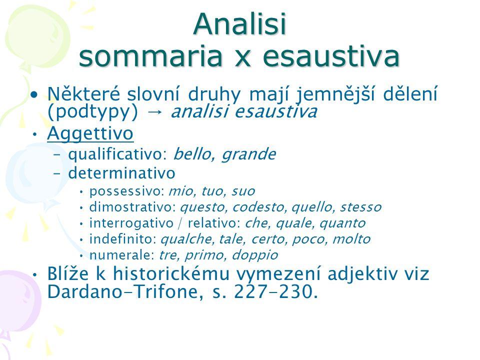 Analisi sommaria x esaustiva Některé slovní druhy mají jemnější dělení (podtypy) → analisi esaustiva Aggettivo –qualificativo: bello, grande –determin