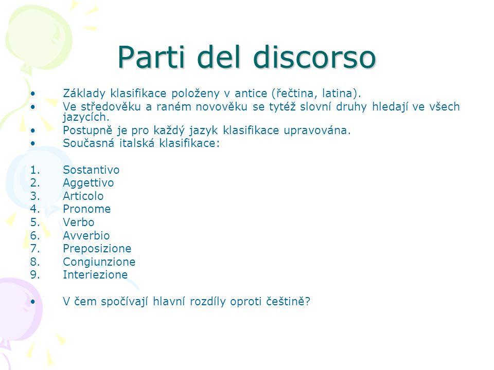 Parti del discorso Základy klasifikace položeny v antice (řečtina, latina). Ve středověku a raném novověku se tytéž slovní druhy hledají ve všech jazy