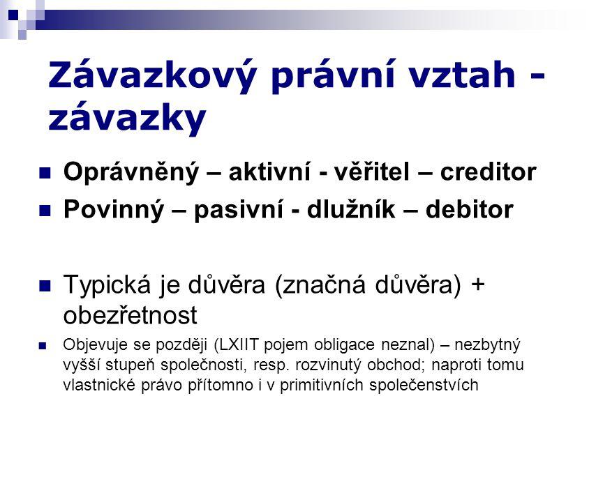 Oprávněný – aktivní - věřitel – creditor Povinný – pasivní - dlužník – debitor Typická je důvěra (značná důvěra) + obezřetnost Objevuje se později (LX