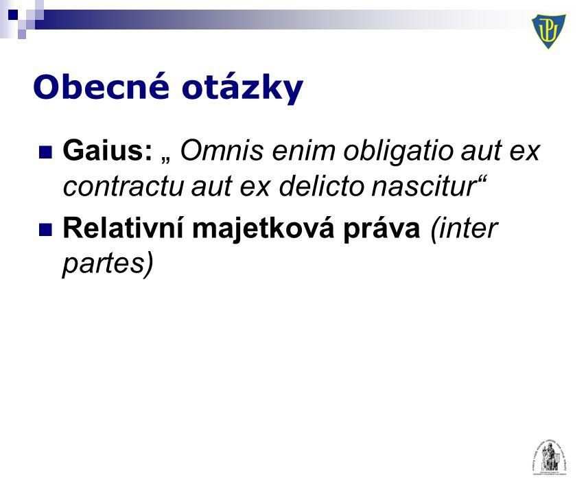 """Obecné otázky Gaius: """" Omnis enim obligatio aut ex contractu aut ex delicto nascitur"""" Relativní majetková práva (inter partes)"""