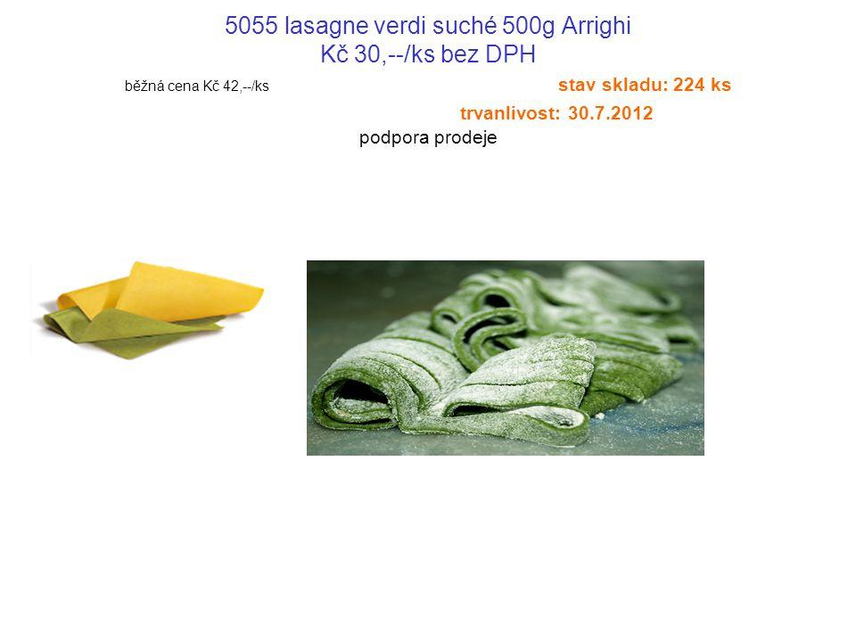 5055 lasagne verdi suché 500g Arrighi Kč 30,--/ks bez DPH běžná cena Kč 42,--/ks stav skladu: 224 ks trvanlivost: 30.7.2012 podpora prodeje