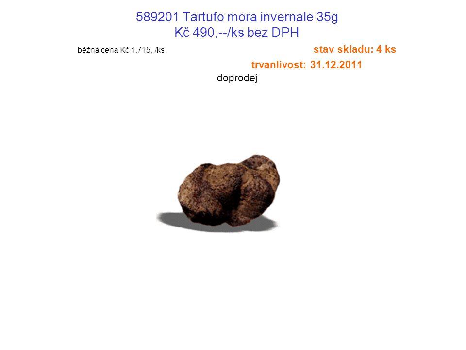 589201 Tartufo mora invernale 35g Kč 490,--/ks bez DPH běžná cena Kč 1.715,-/ks stav skladu: 4 ks trvanlivost: 31.12.2011 doprodej