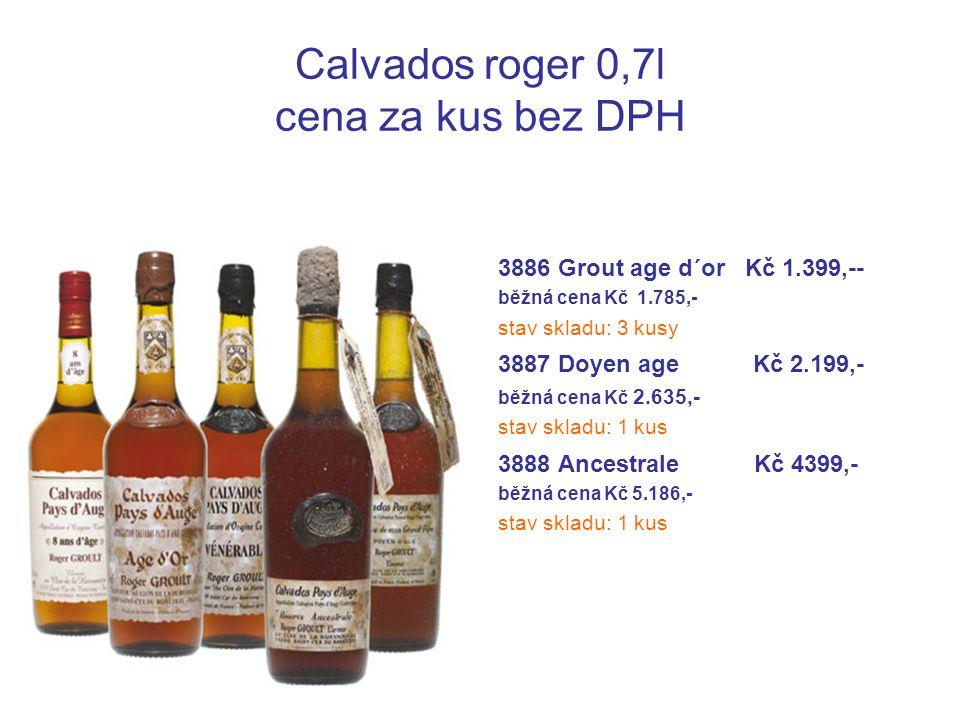 Calvados roger 0,7l cena za kus bez DPH 3886 Grout age d´or Kč 1.399,-- běžná cena Kč 1.785,- stav skladu: 3 kusy 3887 Doyen age Kč 2.199,- běžná cena Kč 2.635,- stav skladu: 1 kus 3888 Ancestrale Kč 4399,- běžná cena Kč 5.186,- stav skladu: 1 kus