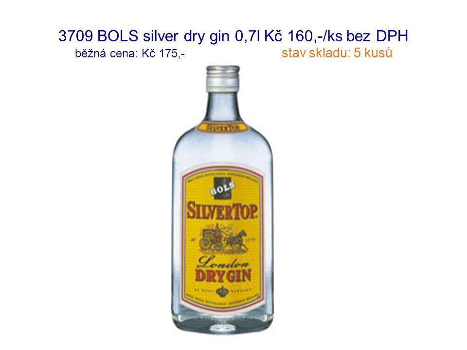 3709 BOLS silver dry gin 0,7l Kč 160,-/ks bez DPH běžná cena: Kč 175,- stav skladu: 5 kusů