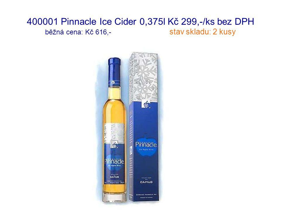 400001 Pinnacle Ice Cider 0,375l Kč 299,-/ks bez DPH běžná cena: Kč 616,- stav skladu: 2 kusy