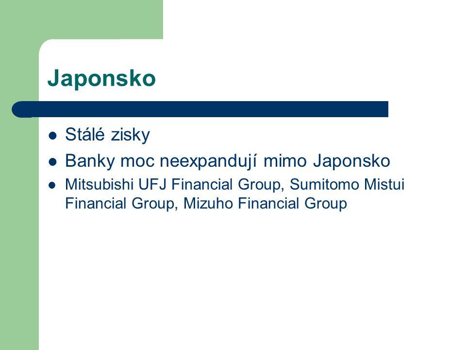 Japonsko Stálé zisky Banky moc neexpandují mimo Japonsko Mitsubishi UFJ Financial Group, Sumitomo Mistui Financial Group, Mizuho Financial Group