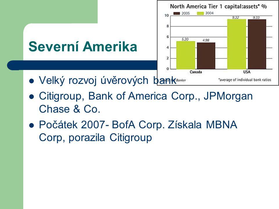 Severní Amerika Velký rozvoj úvěrových bank Citigroup, Bank of America Corp., JPMorgan Chase & Co. Počátek 2007- BofA Corp. Získala MBNA Corp, porazil