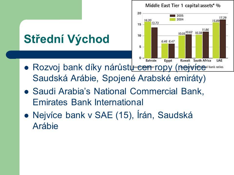 Střední Východ Rozvoj bank díky nárůstu cen ropy (nejvíce Saudská Arábie, Spojené Arabské emiráty) Saudi Arabia's National Commercial Bank, Emirates B