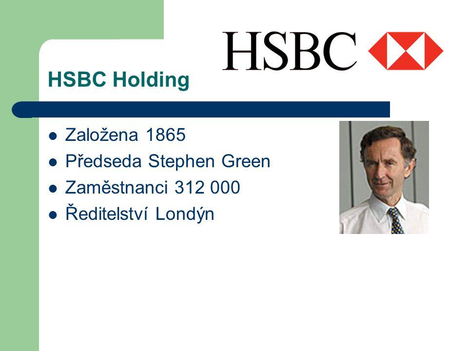 HSBC Holding Založena 1865 Předseda Stephen Green Zaměstnanci 312 000 Ředitelství Londýn
