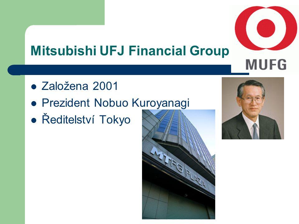 Mitsubishi UFJ Financial Group Založena 2001 Prezident Nobuo Kuroyanagi Ředitelství Tokyo