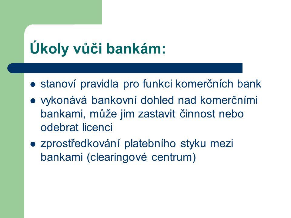 Úkoly vůči bankám: stanoví pravidla pro funkci komerčních bank vykonává bankovní dohled nad komerčními bankami, může jim zastavit činnost nebo odebrat