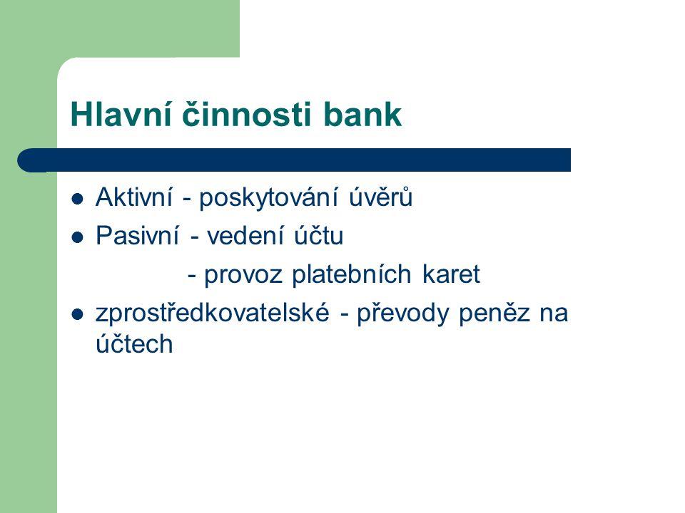 Hlavní činnosti bank Aktivní - poskytování úvěrů Pasivní - vedení účtu - provoz platebních karet zprostředkovatelské - převody peněz na účtech