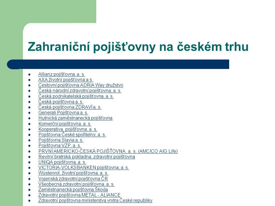 Zahraniční pojišťovny na českém trhu Allianz pojišťovna, a. s. AXA životní pojišťovna a.s. Cestovní pojišťovna ADRIA Way družstvo Česká národní zdravo