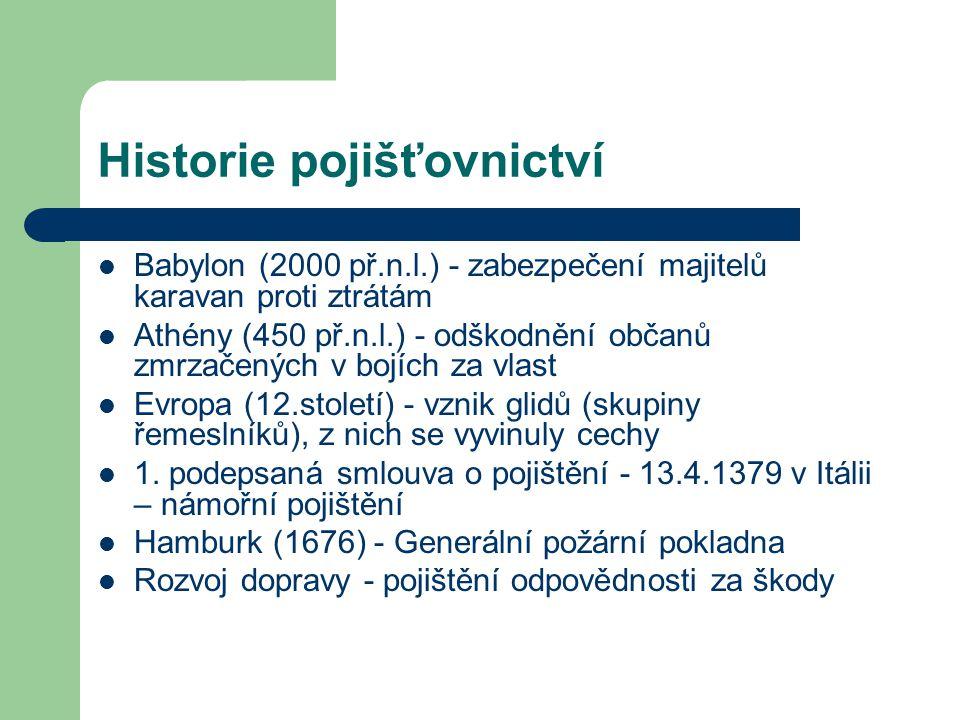 Historie pojišťovnictví Babylon (2000 př.n.l.) - zabezpečení majitelů karavan proti ztrátám Athény (450 př.n.l.) - odškodnění občanů zmrzačených v boj