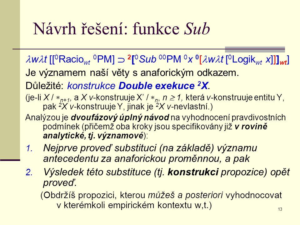13 Návrh řešení: funkce Sub w t [[ 0 Racio wt 0 PM]  2 [ 0 Sub 00 PM 0 x 0 [ w t [ 0 Logik wt x]]] wt ] Je významem naší věty s anaforickým odkazem.