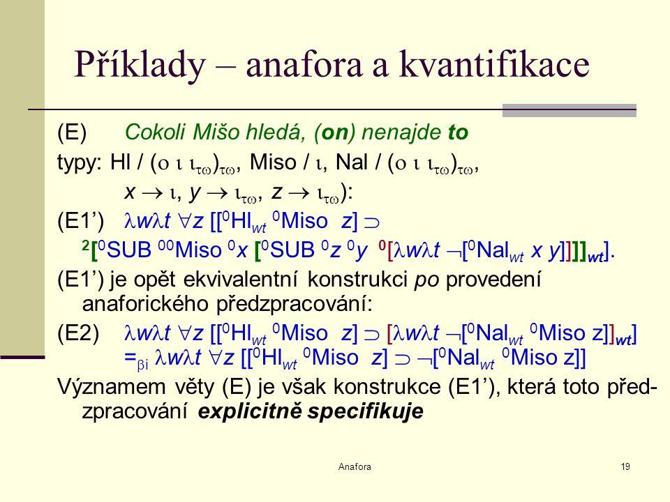 Anafora19 Příklady – anafora a kvantifikace (E)Cokoli Mišo hledá, (on) nenajde to typy: Hl / (     ) , Miso / , Nal / (     ) , x  , y   , z    ): (E1') w t  z [[ 0 Hl wt 0 Miso z]  2 [ 0 SUB 00 Miso 0 x [ 0 SUB 0 z 0 y 0 [ w t  [ 0 Nal wt x y]]]] wt ].