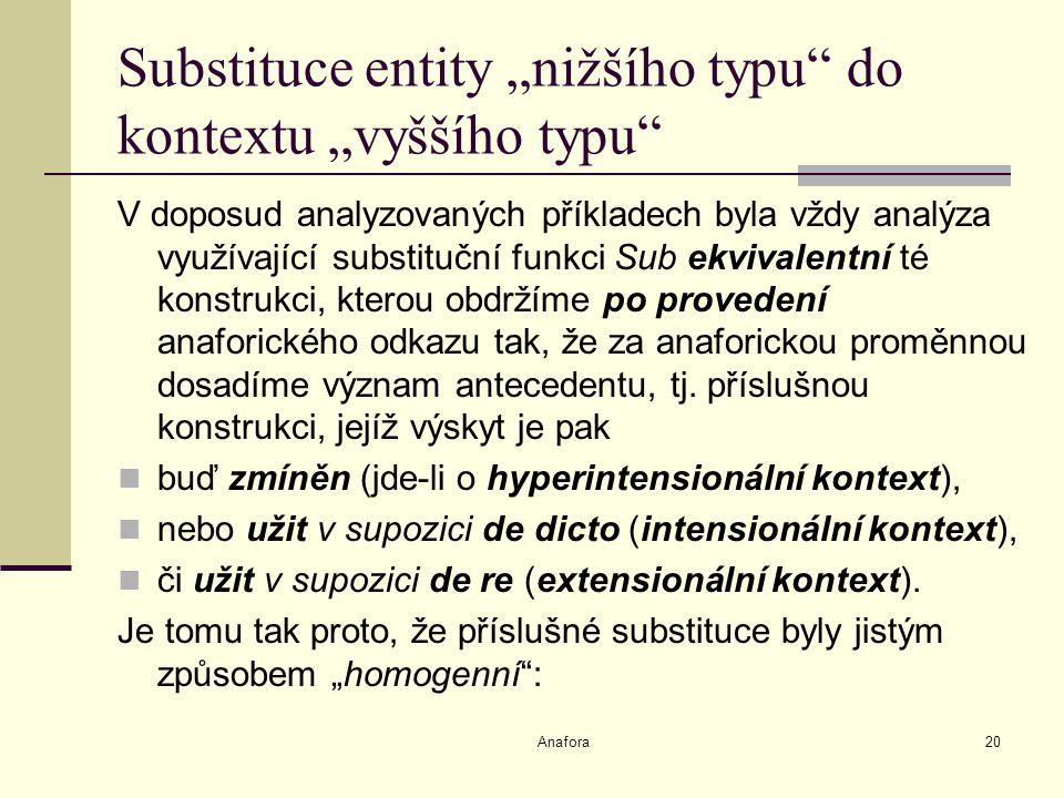 """Anafora20 Substituce entity """"nižšího typu do kontextu """"vyššího typu V doposud analyzovaných příkladech byla vždy analýza využívající substituční funkci Sub ekvivalentní té konstrukci, kterou obdržíme po provedení anaforického odkazu tak, že za anaforickou proměnnou dosadíme význam antecedentu, tj."""